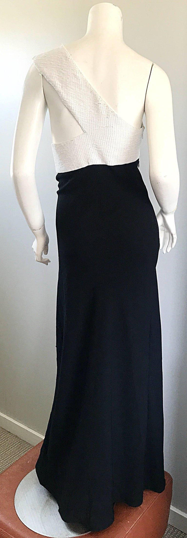 Vintage Jackie Rogers 1990s Black and White One Shoulder Beaded 90s Evening Gown 3