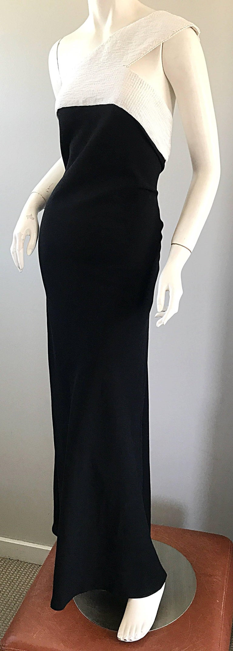 Vintage Jackie Rogers 1990s Black and White One Shoulder Beaded 90s Evening Gown 4