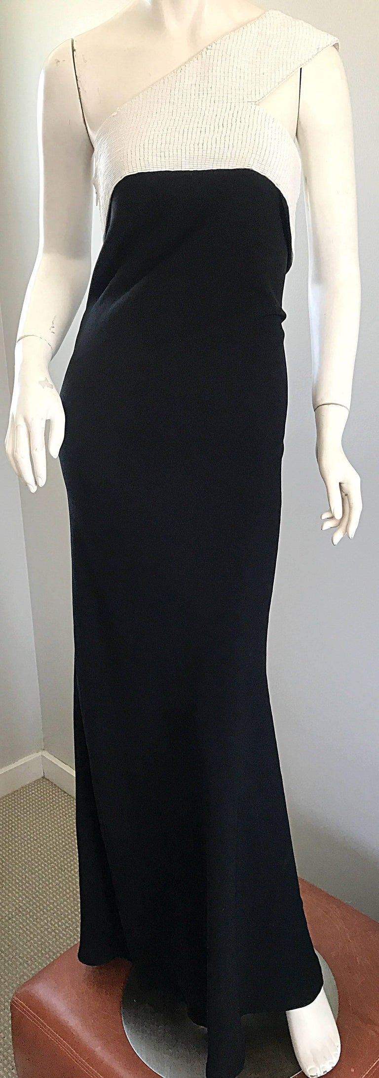 Vintage Jackie Rogers 1990s Black and White One Shoulder Beaded 90s Evening Gown 5