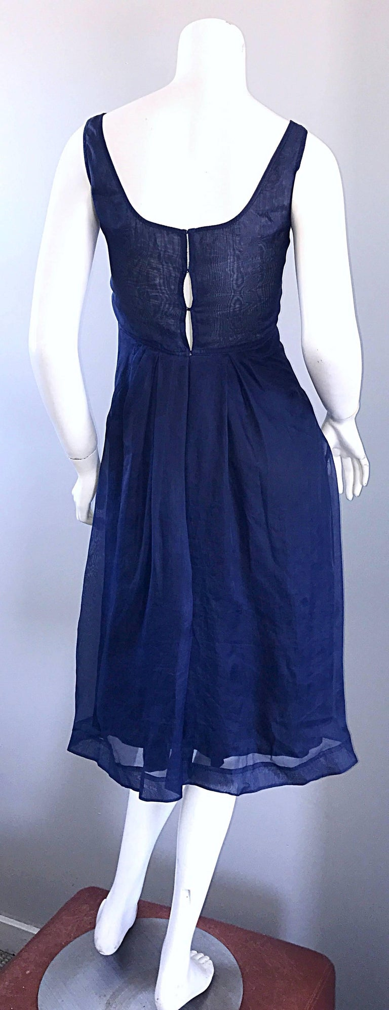 1990s Celine Navy Blue Silk Chiffon Sleeveless Overlay Sweetheart Vintage Dress In Excellent Condition For Sale In Chicago, IL