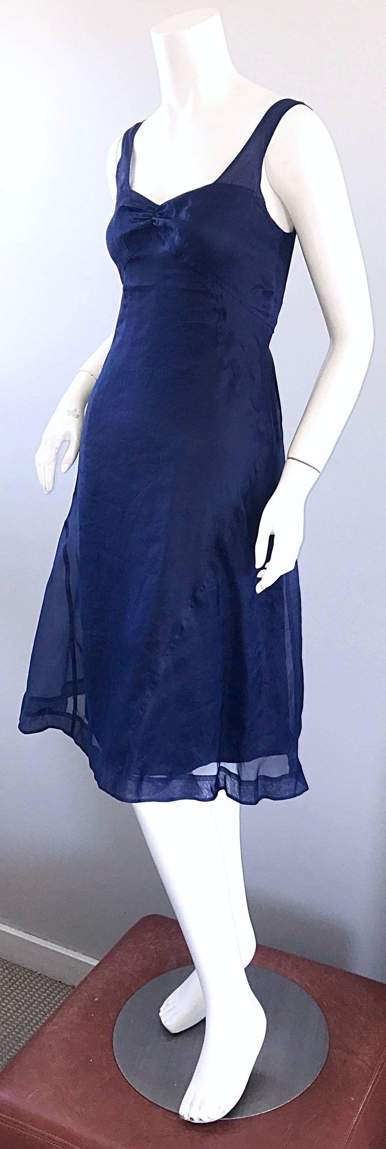 1990s Celine Navy Blue Silk Chiffon Sleeveless Overlay Sweetheart Vintage Dress For Sale 1