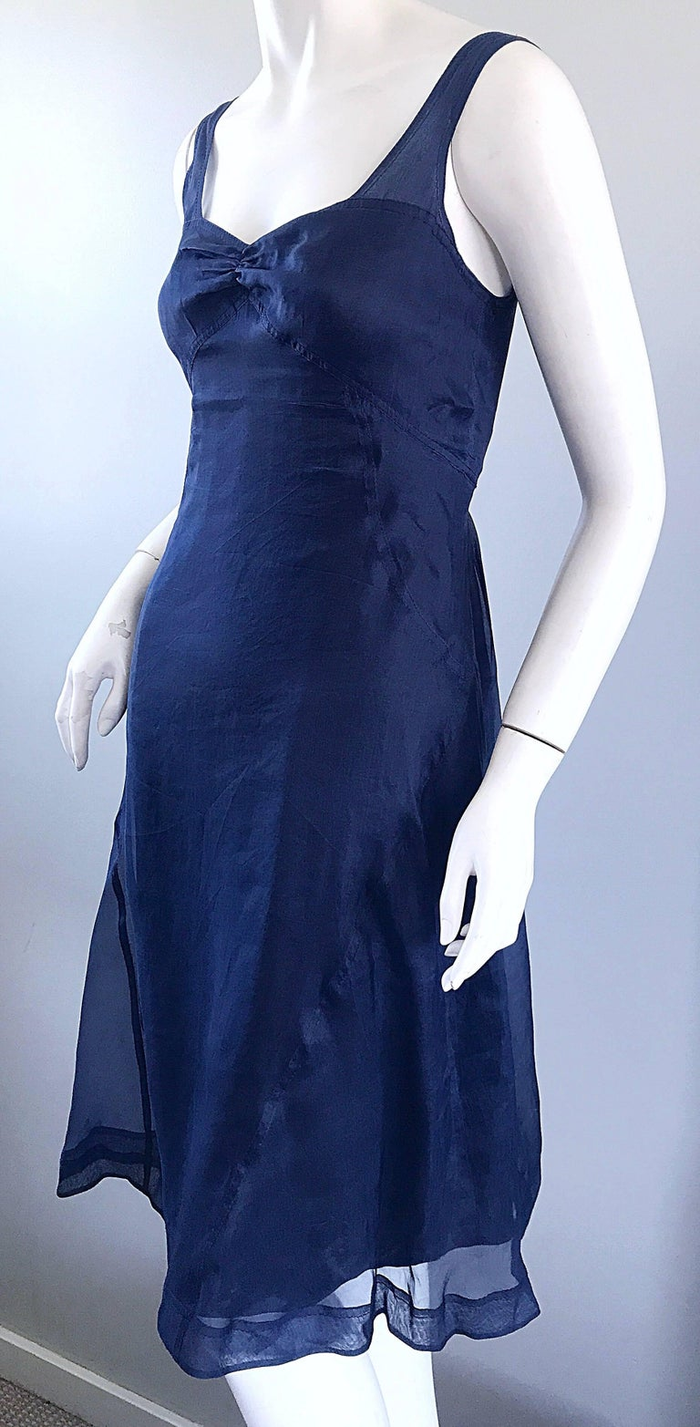 Women's 1990s Celine Navy Blue Silk Chiffon Sleeveless Overlay Sweetheart Vintage Dress For Sale