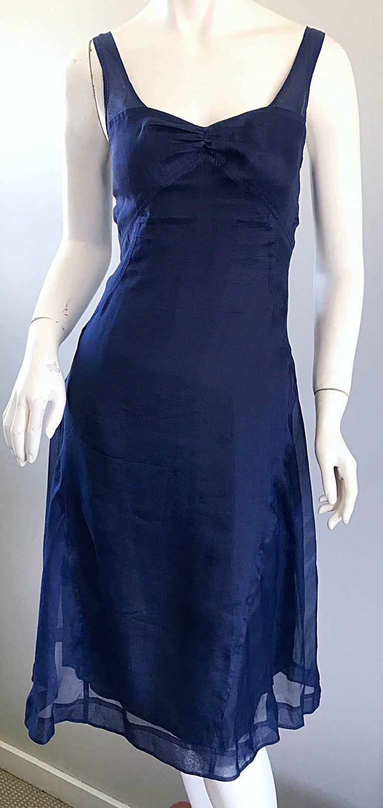 1990s Celine Navy Blue Silk Chiffon Sleeveless Overlay Sweetheart Vintage Dress For Sale 2