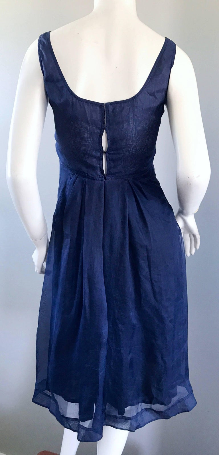 1990s Celine Navy Blue Silk Chiffon Sleeveless Overlay Sweetheart Vintage Dress For Sale 3