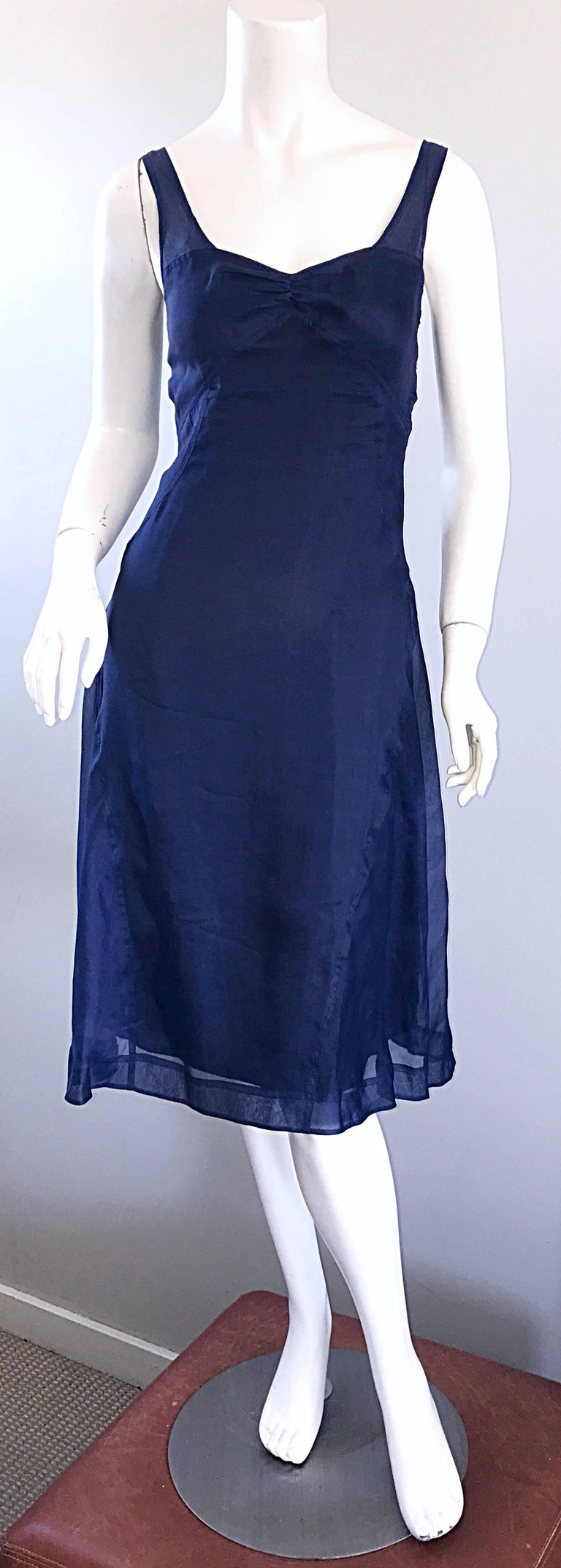 1990s Celine Navy Blue Silk Chiffon Sleeveless Overlay Sweetheart Vintage Dress For Sale 4