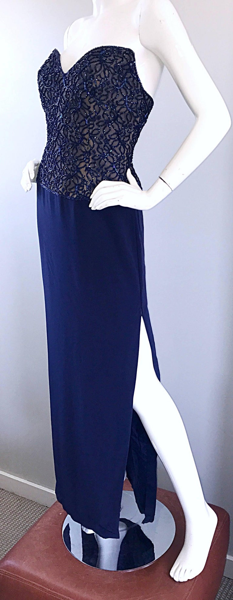 Gorgeous Vintage Bob Mackie Navy Blue Beaded Sequin Strapless Evening Gown  In Excellent Condition For Sale In San Francisco, CA