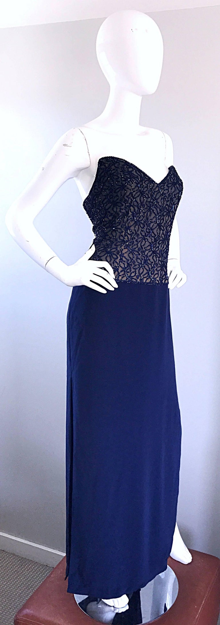 Women's Gorgeous Vintage Bob Mackie Navy Blue Beaded Sequin Strapless Evening Gown  For Sale