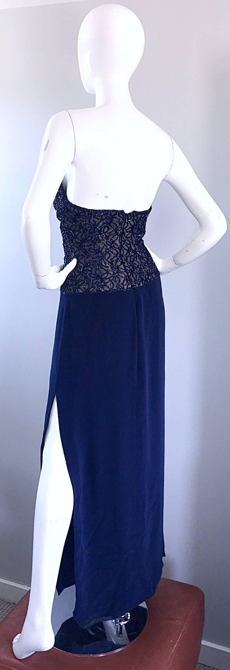 Gorgeous Vintage Bob Mackie Navy Blue Beaded Sequin Strapless Evening Gown  For Sale 1