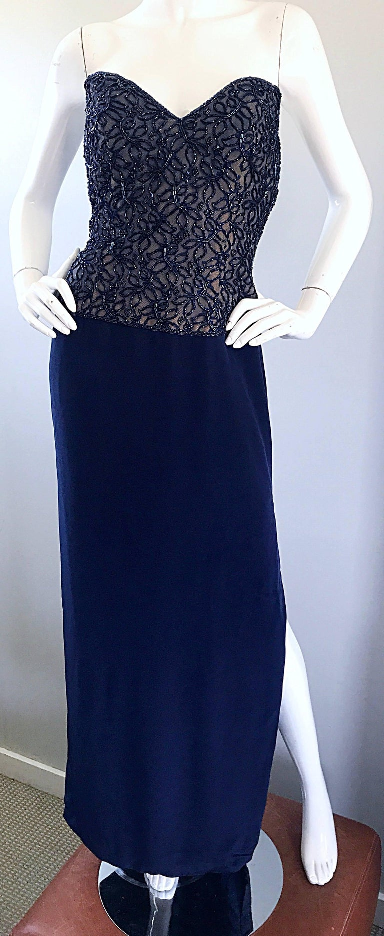 Gorgeous Vintage Bob Mackie Navy Blue Beaded Sequin Strapless Evening Gown  For Sale 2