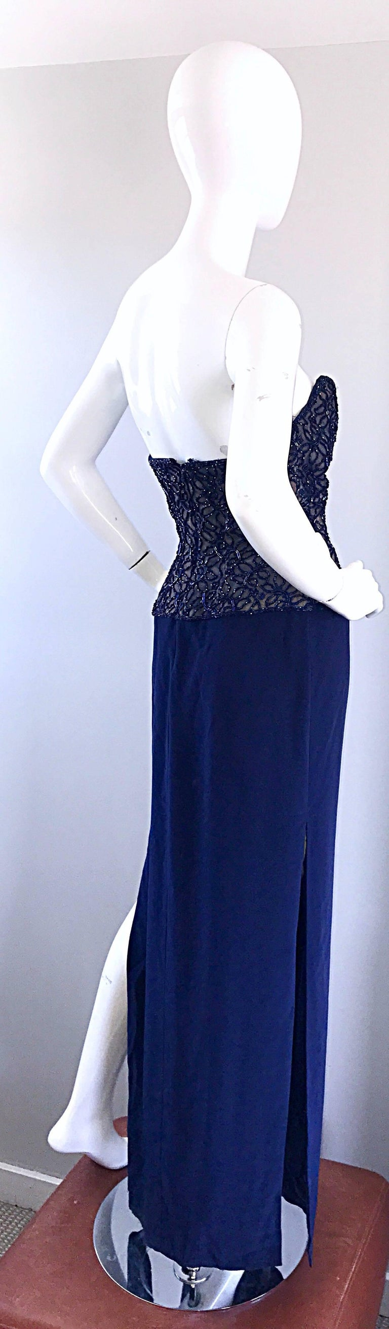Gorgeous Vintage Bob Mackie Navy Blue Beaded Sequin Strapless Evening Gown  For Sale 3