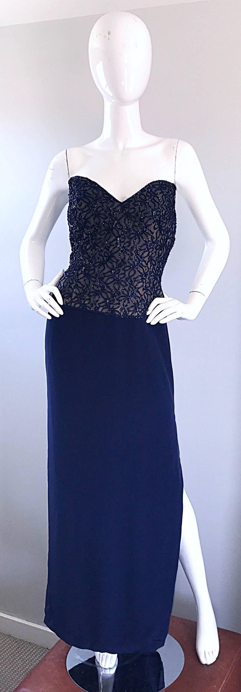 Gorgeous Vintage Bob Mackie Navy Blue Beaded Sequin Strapless Evening Gown  For Sale 4