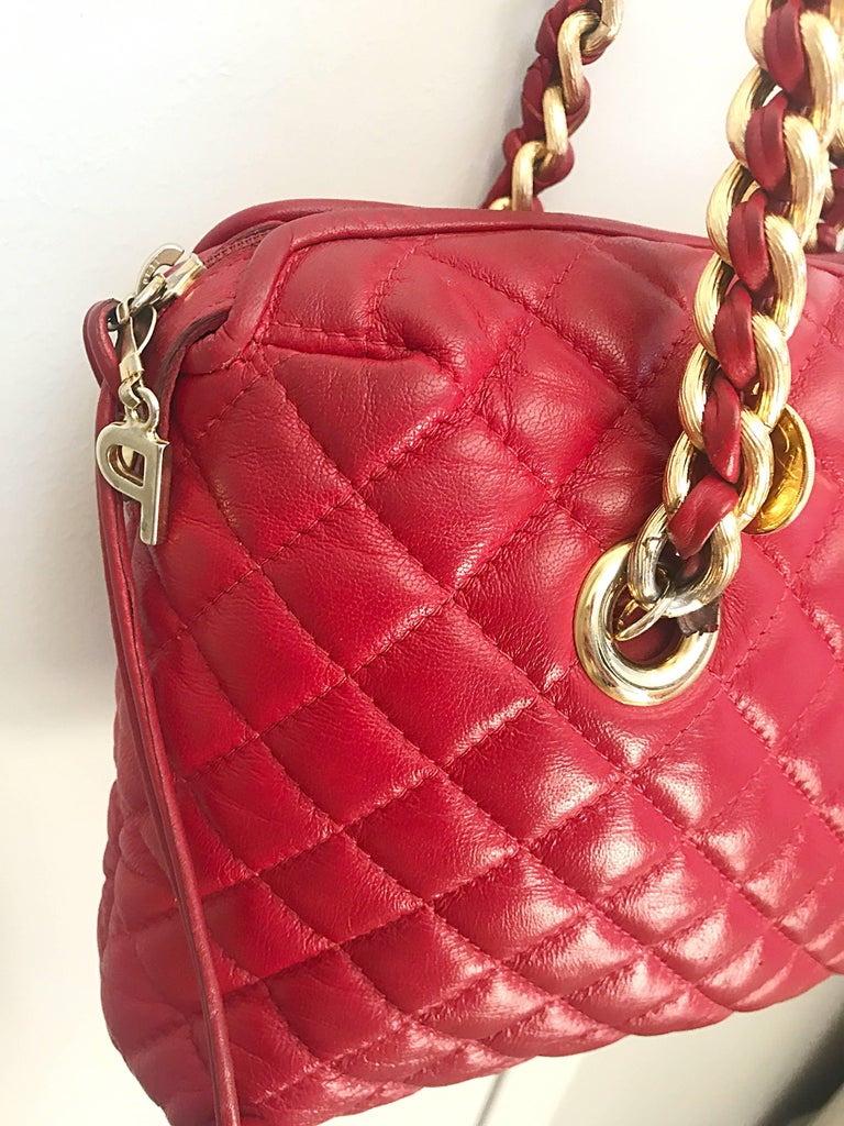 Vintage Italian Paola By Pdl Firenze Red Quilted Leather
