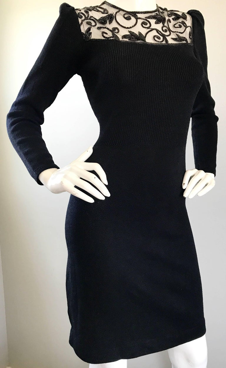 Women's Vintage St John by Marie Gray Black Santana Knit Sequin Cut-Out Back 1990s Dress For Sale