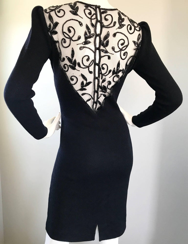 Vintage St John by Marie Gray Black Santana Knit Sequin Cut-Out Back 1990s Dress For Sale 2