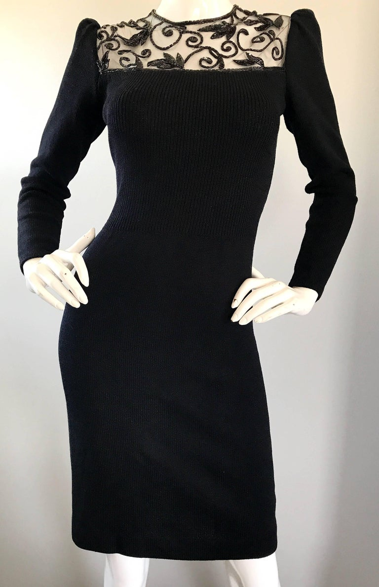 Vintage St John by Marie Gray Black Santana Knit Sequin Cut-Out Back 1990s Dress For Sale 3