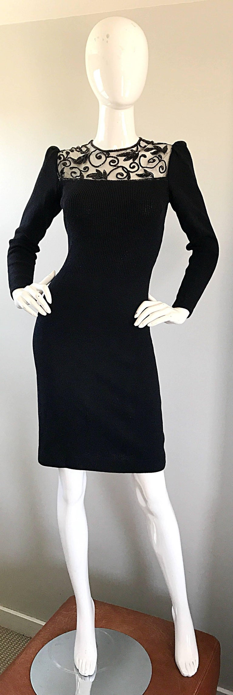 Vintage St John by Marie Gray Black Santana Knit Sequin Cut-Out Back 1990s Dress For Sale 6