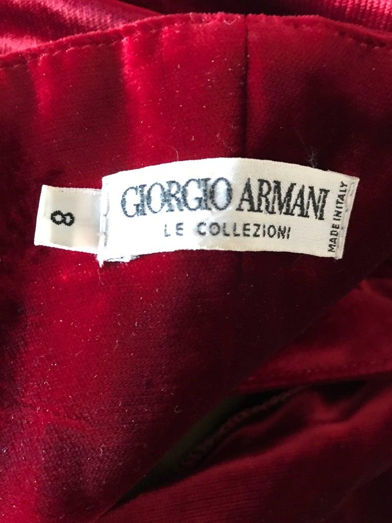 1990s Giorgio Armani Collezioni Crimson Red Silk Velvet Size 8 Vintage 90s Gown 10