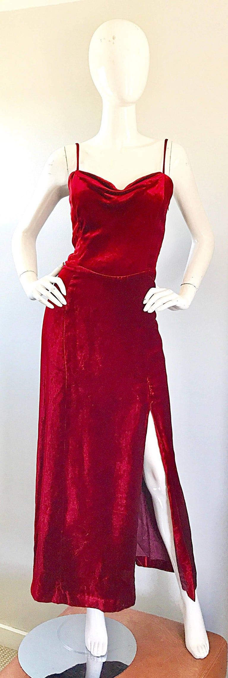 Insanely beautiful 1990s GIORGIO ARMANI COLLEZIONI crimson red silk velvet full length evening dress! Couture quality, with an amazing fit! Hidden interior weight on inner bust creates a beautiful drape at center bust, and gives this beauty a