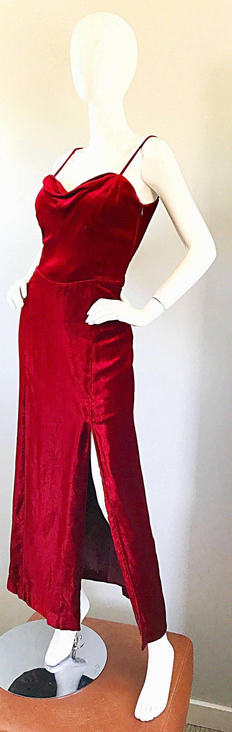 Women's Giorgio Armani Collezioni Vintage Crimson Red Silk Velvet Gown Size 8, 1990s For Sale