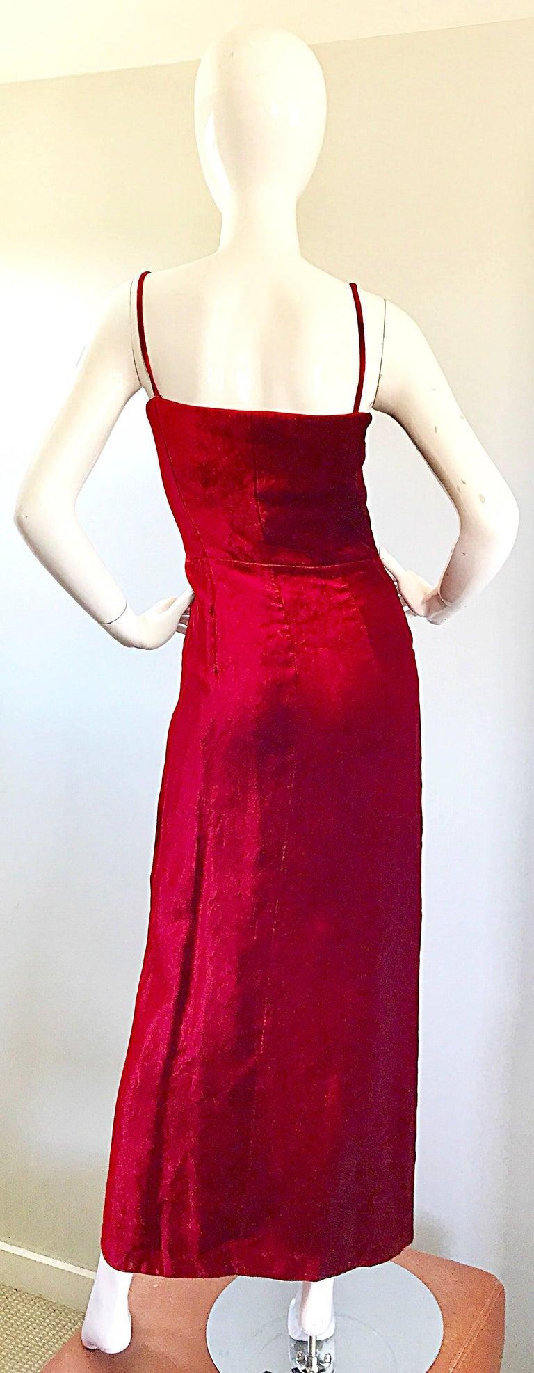 1990s Giorgio Armani Collezioni Crimson Red Silk Velvet Size 8 Vintage 90s Gown 5