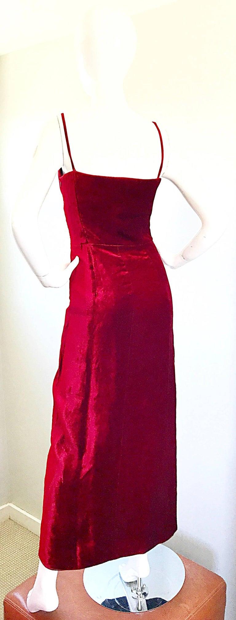 1990s Giorgio Armani Collezioni Crimson Red Silk Velvet Size 8 Vintage 90s Gown 8