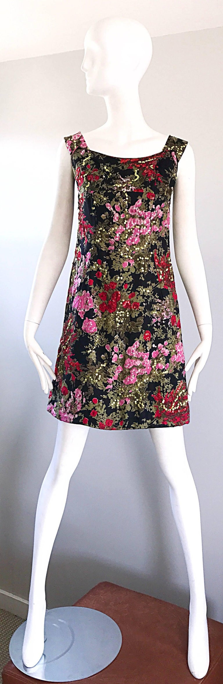 1960s Lord and Taylor Black + Pink + Red Silk Sequin Vintage 60s ...