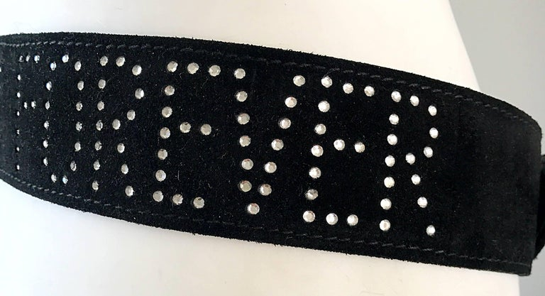 1990s Moschino Forever Black Suede Rhinestone 90s Vintage Logo Statement Belt For Sale 3