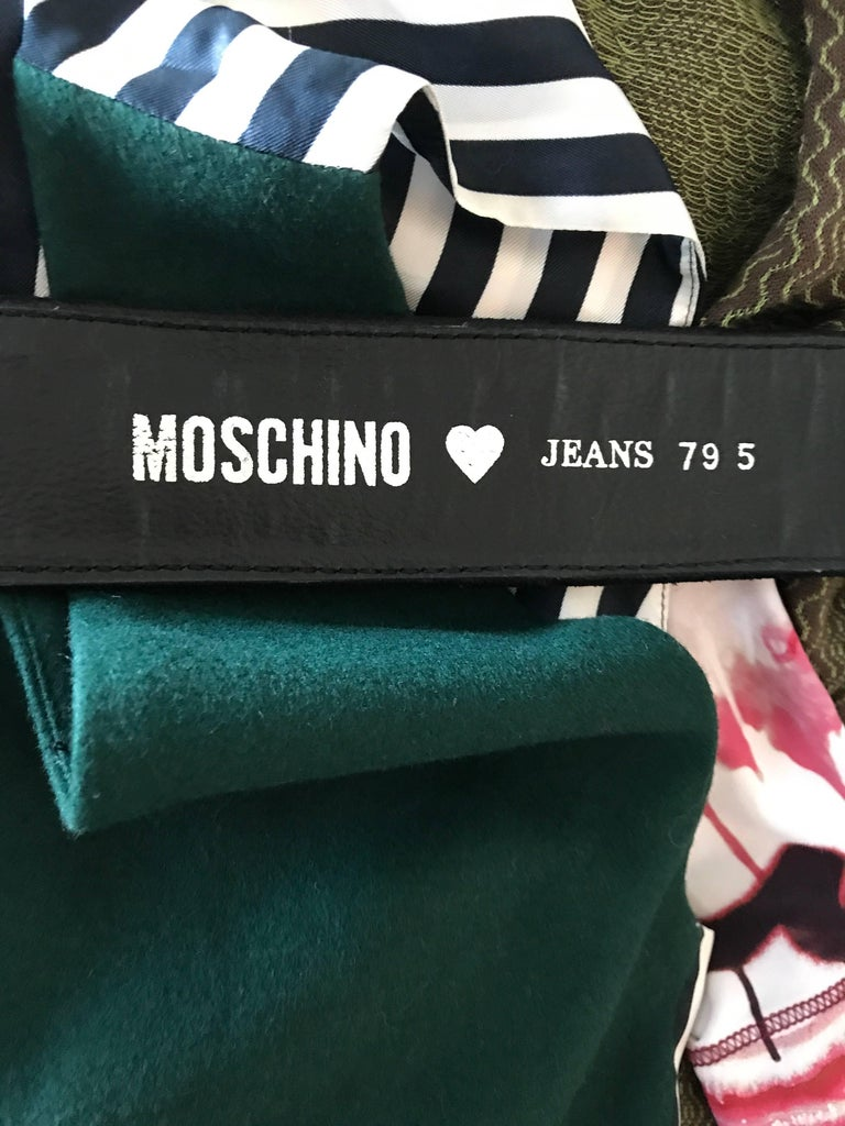 1990s Moschino Forever Black Suede Rhinestone 90s Vintage Logo Statement Belt For Sale 6