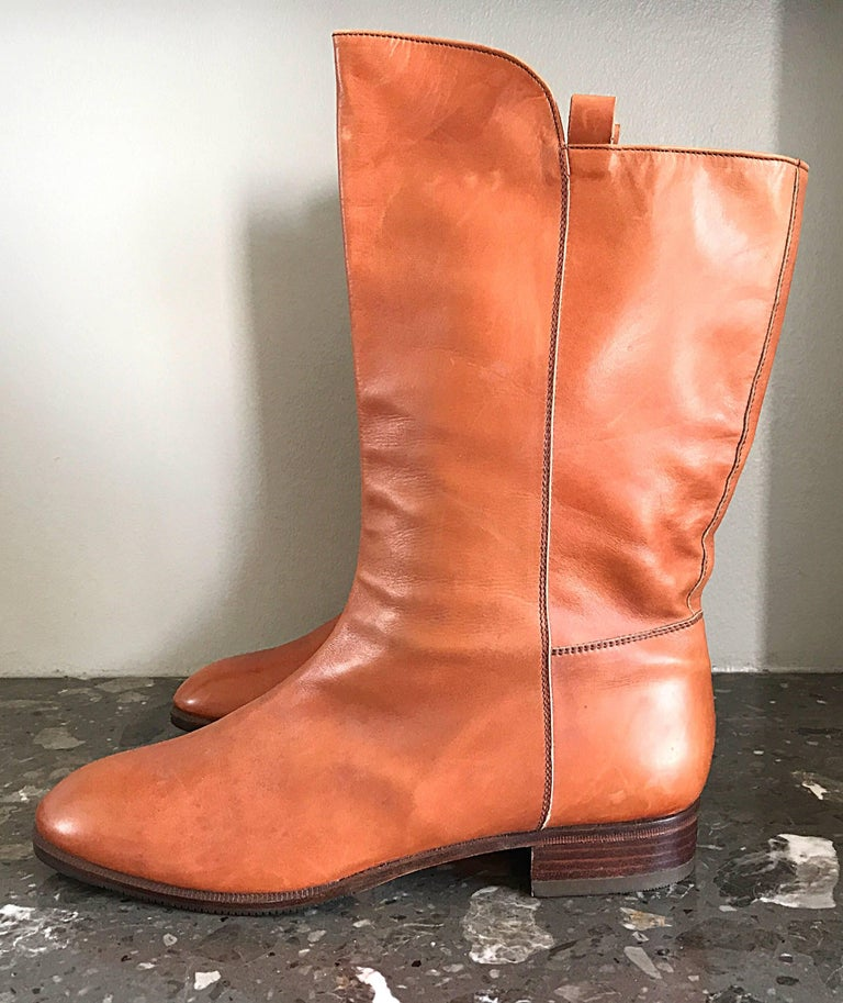 New 1980s Perry Ellis Size 6 Tan Saddle Leather Deadstock Calf Booties Boots In New Condition For Sale In Chicago, IL