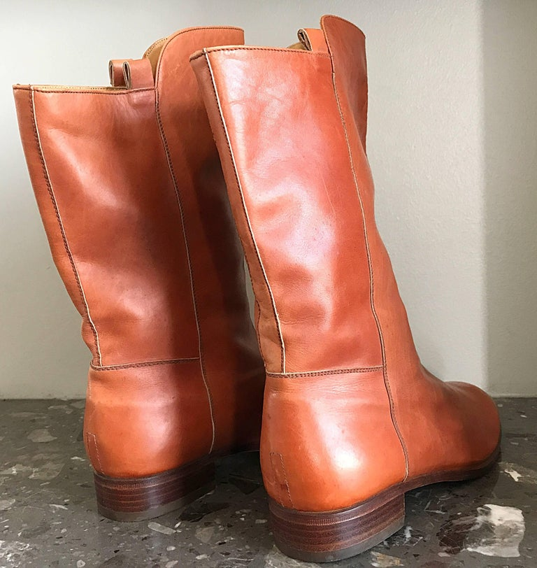 Women's New 1980s Perry Ellis Size 6 Tan Saddle Leather Deadstock Calf Booties Boots For Sale