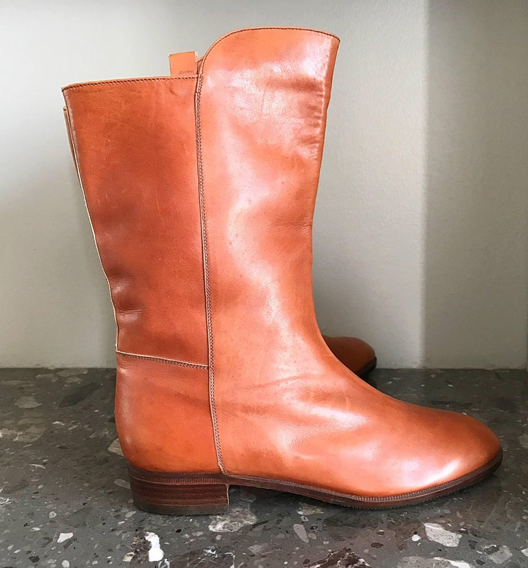 New 1980s Perry Ellis Size 6 Tan Saddle Leather Deadstock Calf Booties Boots For Sale 1