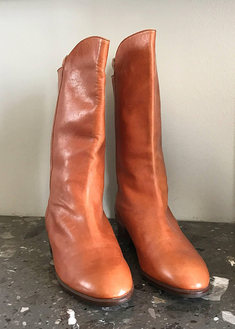 New 1980s Perry Ellis Size 6 Tan Saddle Leather Deadstock Calf Booties Boots For Sale 2