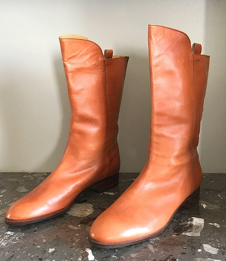 New 1980s Perry Ellis Size 6 Tan Saddle Leather Deadstock Calf Booties Boots For Sale 3
