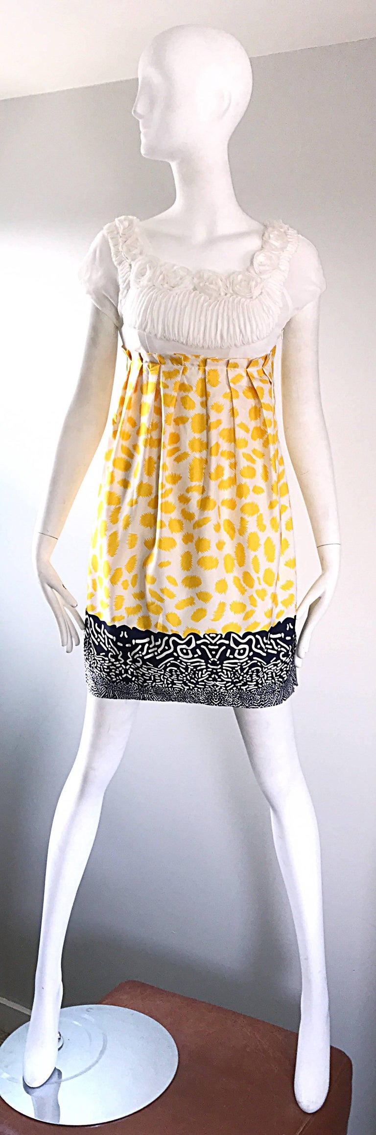 Marc Jacobs Collection White Yellow Blue Short Sleeve Size 2 Sac Nanydoll Dress 2