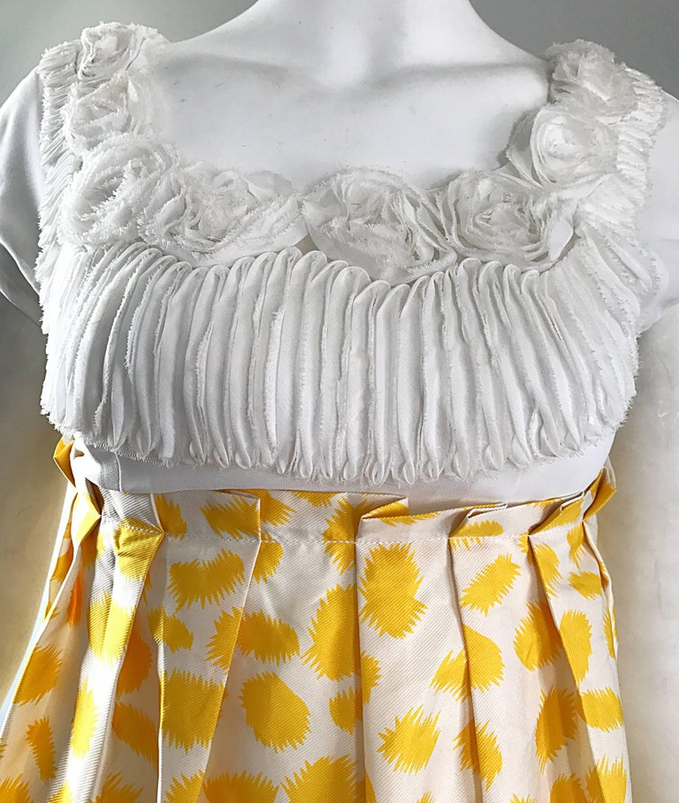 Marc Jacobs Collection White Yellow Blue Short Sleeve Size 2 Sac Nanydoll Dress 3