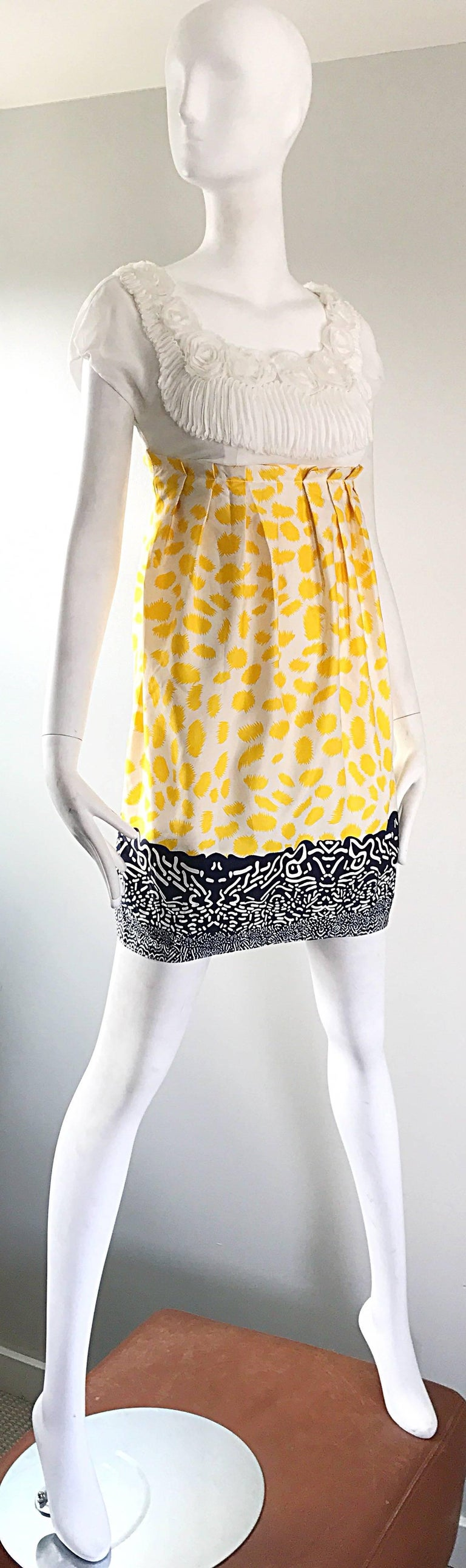 Marc Jacobs Collection White Yellow Blue Short Sleeve Size 2 Sac Nanydoll Dress 5