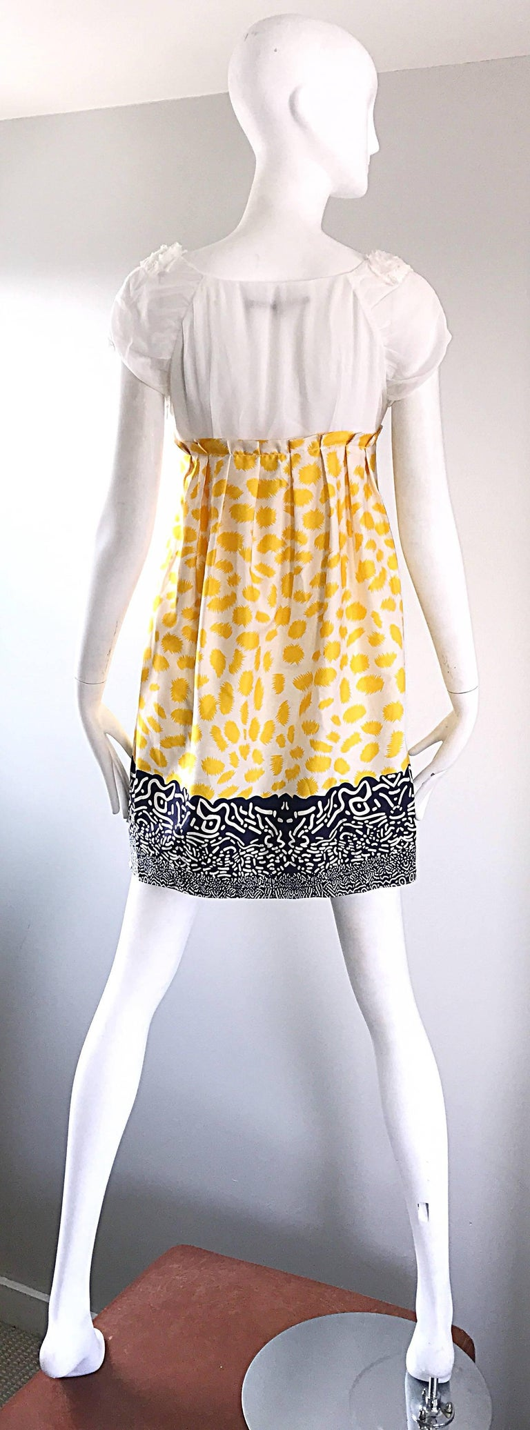 Marc Jacobs Collection White Yellow Blue Short Sleeve Size 2 Sac Nanydoll Dress 7