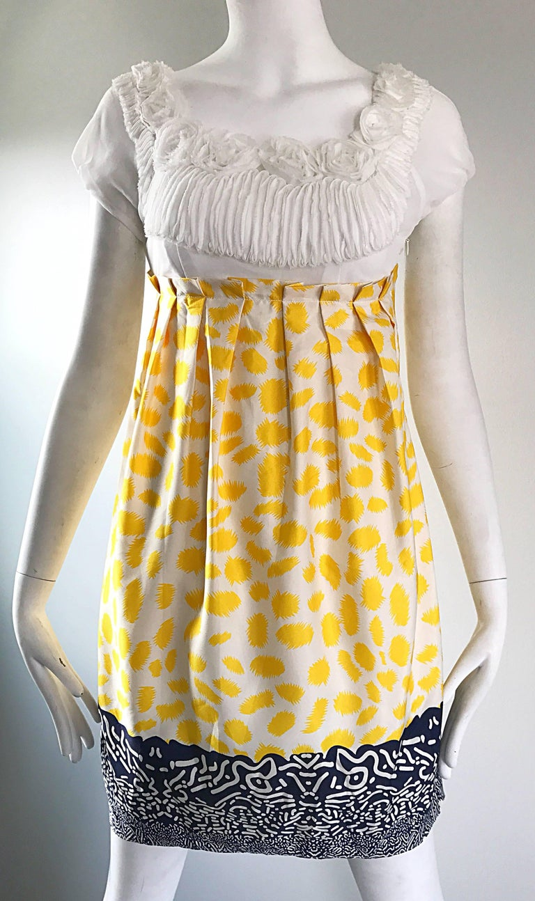 Marc Jacobs Collection White Yellow Blue Short Sleeve Size 2 Sac Nanydoll Dress 8