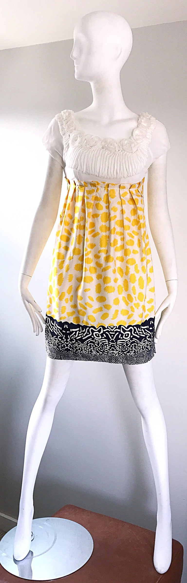 Marc Jacobs Collection White Yellow Blue Short Sleeve Size 2 Sac Nanydoll Dress 9