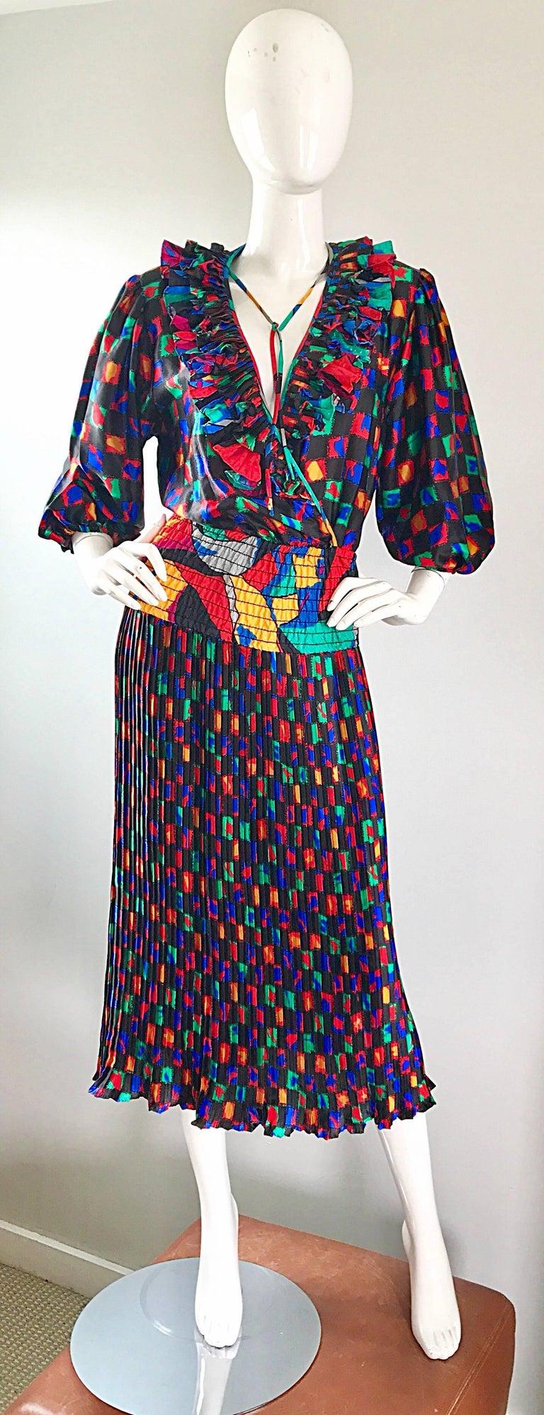 Diane Freis 1980s Colorful Mosaic Print Boho Ruffle