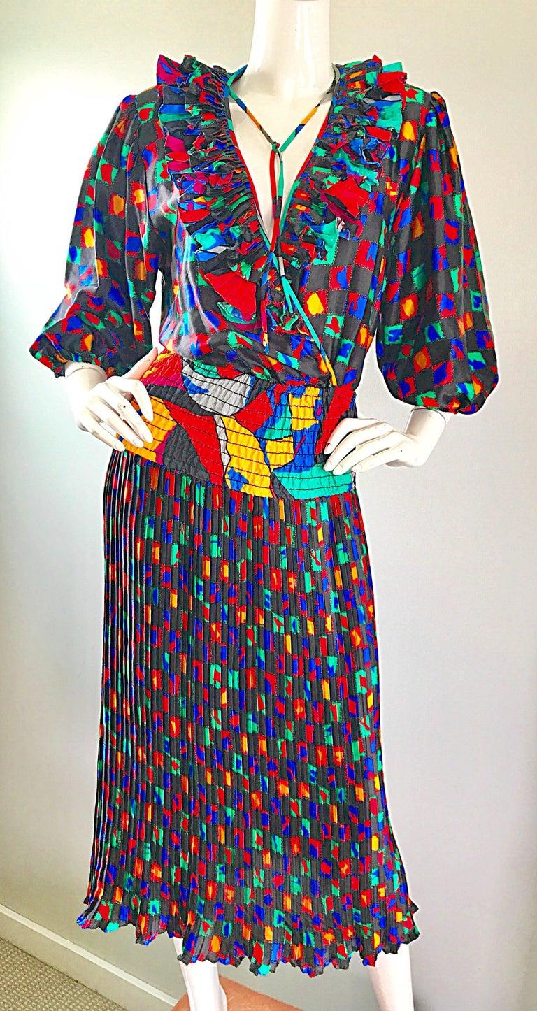 Black Diane Freis 1980s Colorful Mosaic Print Boho Ruffle Vintage 80s Midi Dress For Sale