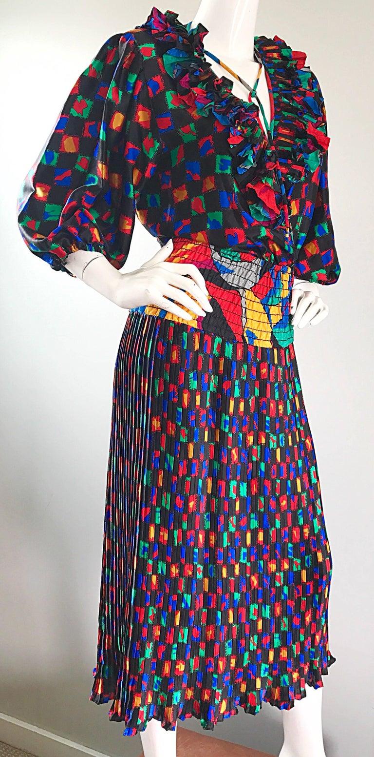 Women's Diane Freis 1980s Colorful Mosaic Print Boho Ruffle Vintage 80s Midi Dress For Sale