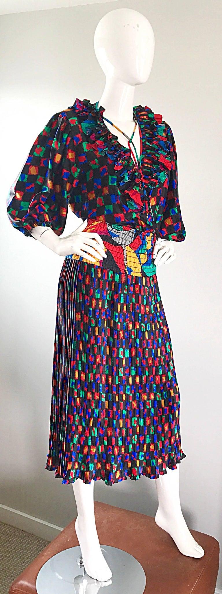 Diane Freis 1980s Colorful Mosaic Print Boho Ruffle Vintage 80s Midi Dress For Sale 3