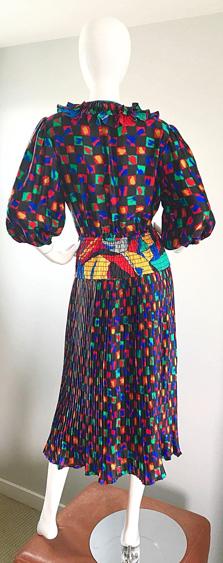 Diane Freis 1980s Colorful Mosaic Print Boho Ruffle Vintage 80s Midi Dress For Sale 4
