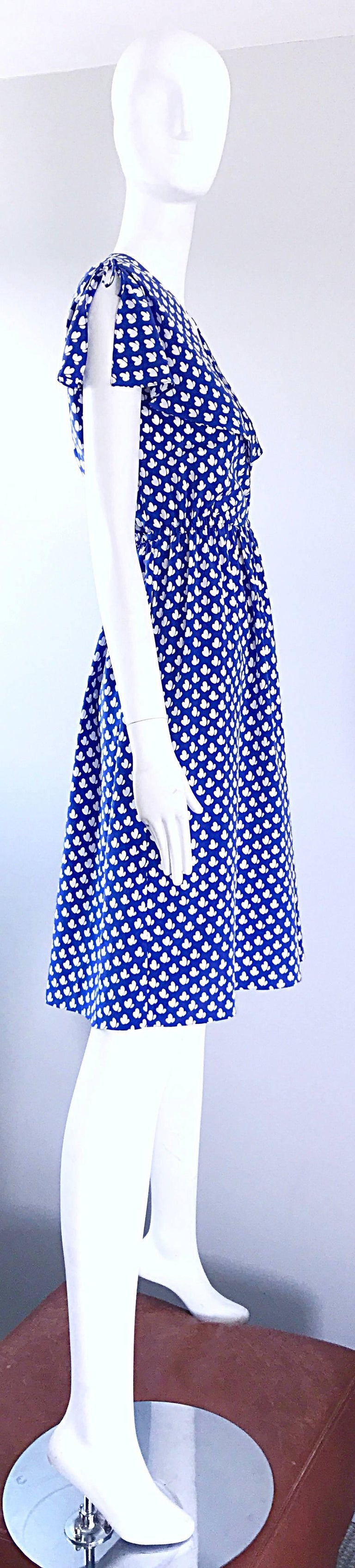 Purple Vintage Pierre Cardin 1970s Blue + White Heart Print Flutter Sleeve 70s Dress For Sale