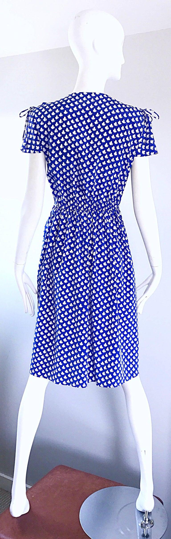 Vintage Pierre Cardin 1970s Blue + White Heart Print Flutter Sleeve 70s Dress For Sale 1