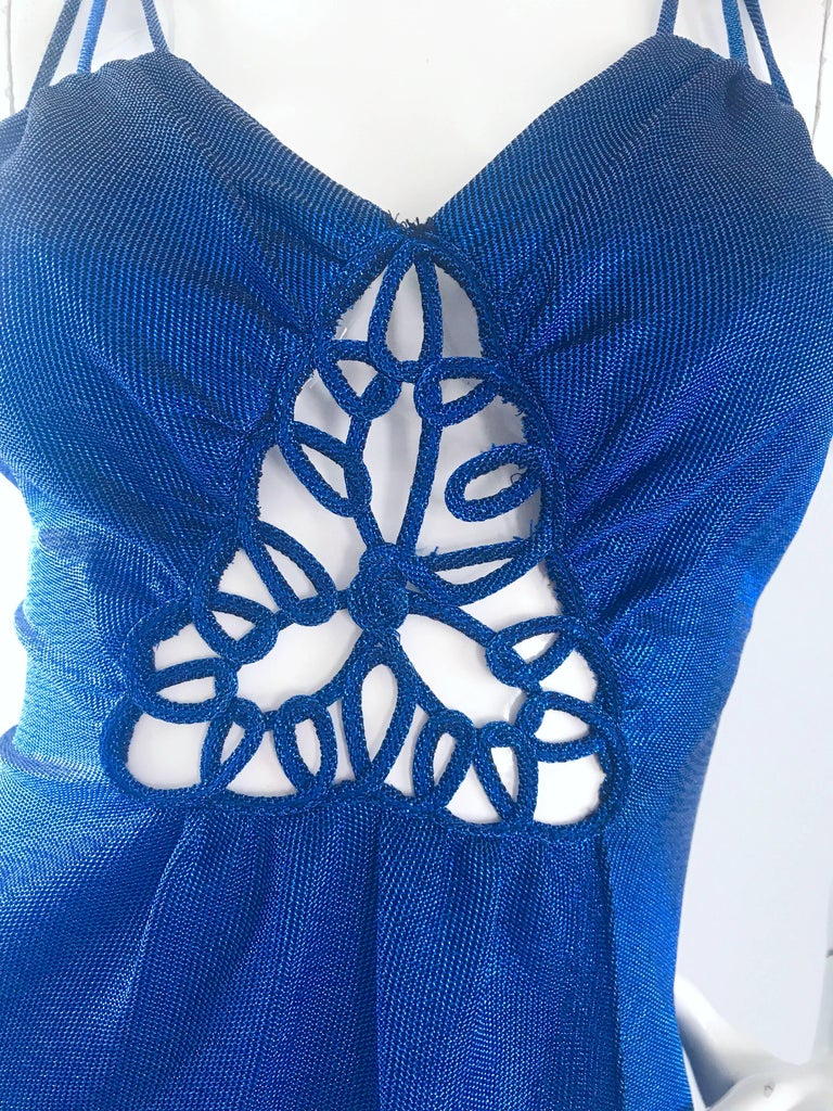 1970s Samir Sexy Electric Blue Metallic Cut - Out Slinky Vintage 70s Disco Dress In Excellent Condition For Sale In Chicago, IL