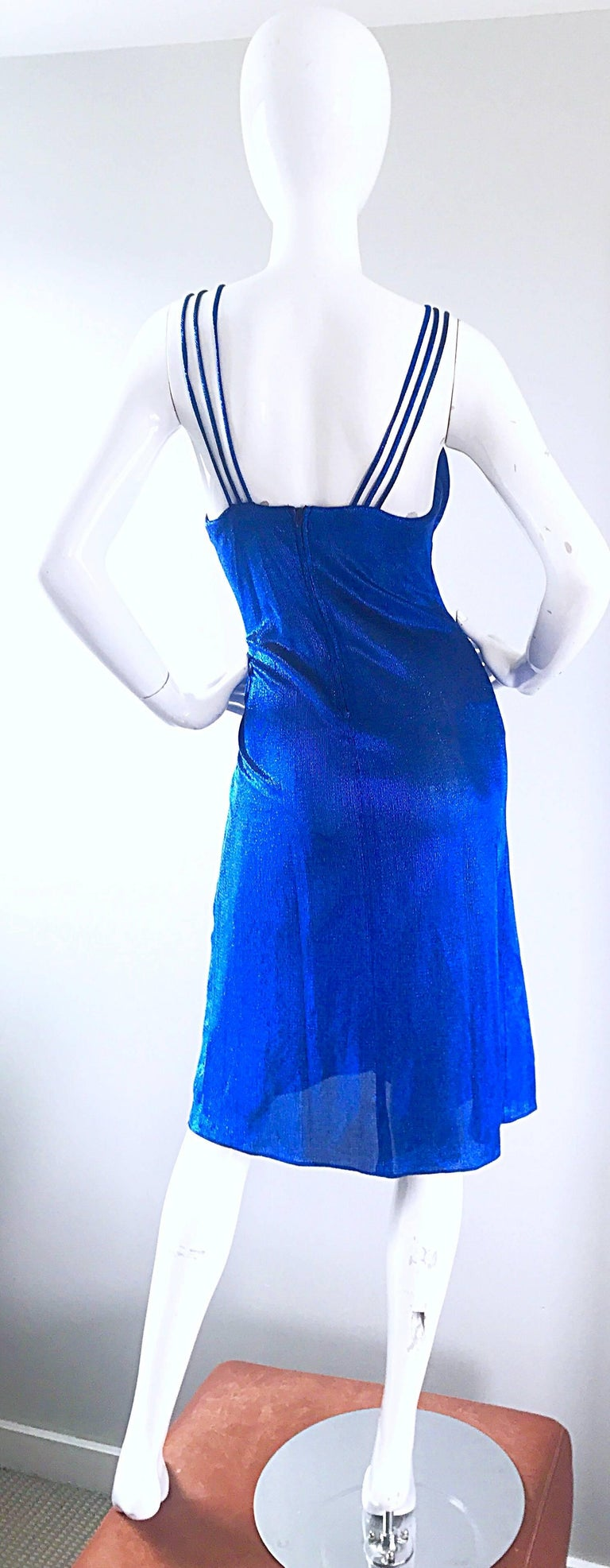 Women's 1970s Samir Sexy Electric Blue Metallic Cut - Out Slinky Vintage 70s Disco Dress For Sale