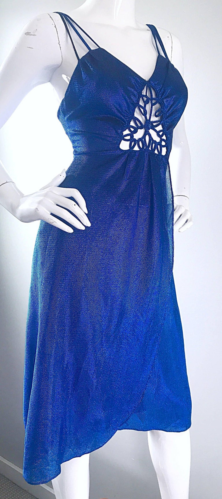 1970s Samir Sexy Electric Blue Metallic Cut - Out Slinky Vintage 70s Disco Dress For Sale 1
