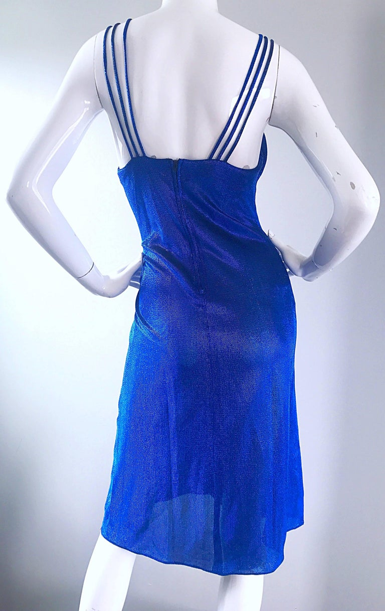 1970s Samir Sexy Electric Blue Metallic Cut - Out Slinky Vintage 70s Disco Dress For Sale 3